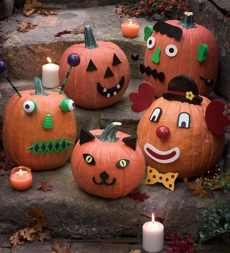 """<p>Let your kids' imagination run free with these pumpkin characters that they can either build as instructed or mix and match to create unique creatures. </p><p><strong><a class=""""link rapid-noclick-resp"""" href=""""https://www.amazon.com/Kayco-Outlet-Pumpkin-Decorating-Stickers/dp/B07Y5DMXTW?tag=syn-yahoo-20&ascsubtag=%5Bartid%7C10070.g.331%5Bsrc%7Cyahoo-us"""" rel=""""nofollow noopener"""" target=""""_blank"""" data-ylk=""""slk:SHOP PUMPKIN FACE KITS"""">SHOP PUMPKIN FACE KITS</a></strong></p>"""