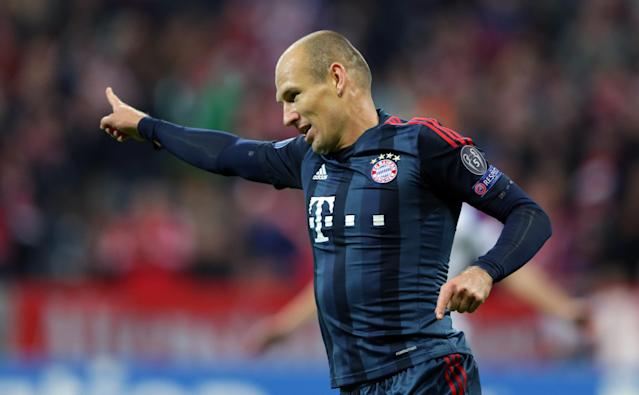 Bayern's Arjen Robben of the Netherlands celebrates after scoring his side's third goal during the Champions League first round group D soccer match between FC Bayern Munich and CSKA Moscow, in Munich, Germany, Tuesday, Sept. 17, 2013. (AP Photo/Matthias Schrader)