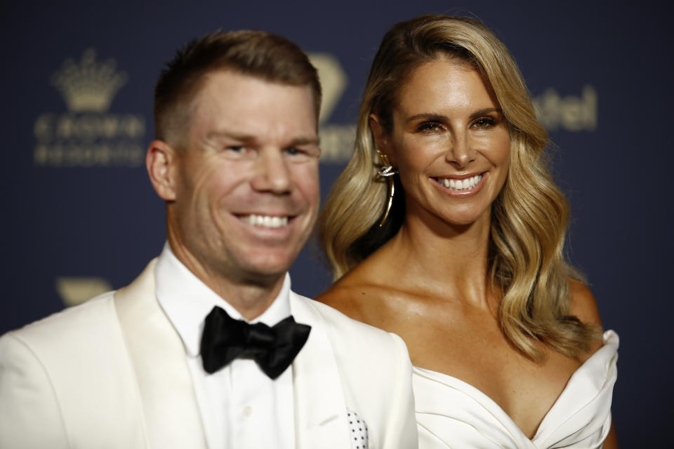 David Warner (L) and Candice Warner arrive ahead of the 2020 Cricket Australia Awards at Crown Palladium on February 10, 2020 in Melbourne, Australia