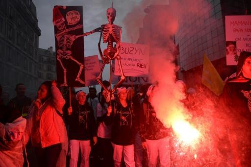 There were mass protests in Paris and elsewhere on Tuesday