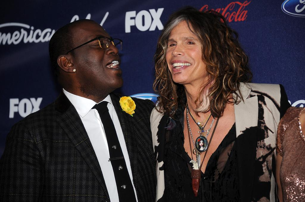 "Randy Jackson and Steven Tyler attend the Season 11 ""<a href=""http://tv.yahoo.com/american-idol/show/34934"">American Idol</a>"" Top 13 Finalists Party on Thursday, March 1 at The Grove in Los Angeles, CA."