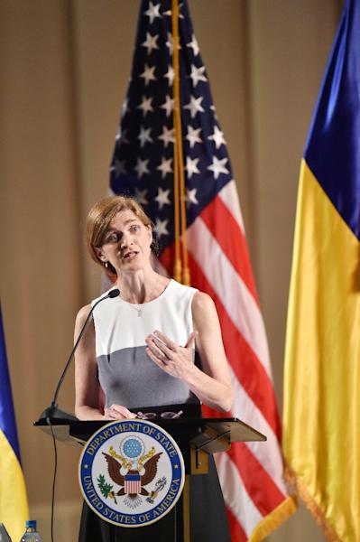 US Ambassador to the United Nations Samantha Power gestures as she speaks during her address in Kiev on June 11, 2015 (AFP Photo/Sergei Supinsky)