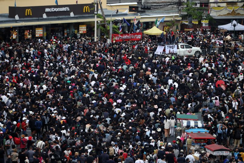 Anti-government protesters attend a rally in Bangkok