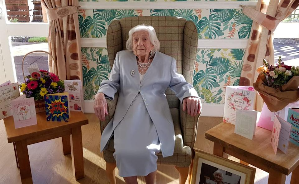 Polly celebrated her 106th birthday by beating COVID. (Elizabeth Court Care Home / SWNS)