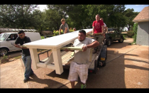 """<p>When the show aired on HGTV, the furniture and decor used for the big reveal was staged. However, the network always <a href=""""https://www.purewow.com/entertainment/does-hgtv-pay-for-renovations-on-fixer-upper"""" rel=""""nofollow noopener"""" target=""""_blank"""" data-ylk=""""slk:gave the homeowner one big ticket item"""" class=""""link rapid-noclick-resp"""">gave the homeowner one big ticket item</a> to keep at the end, ranging from a sectional to a dining room table.</p>"""