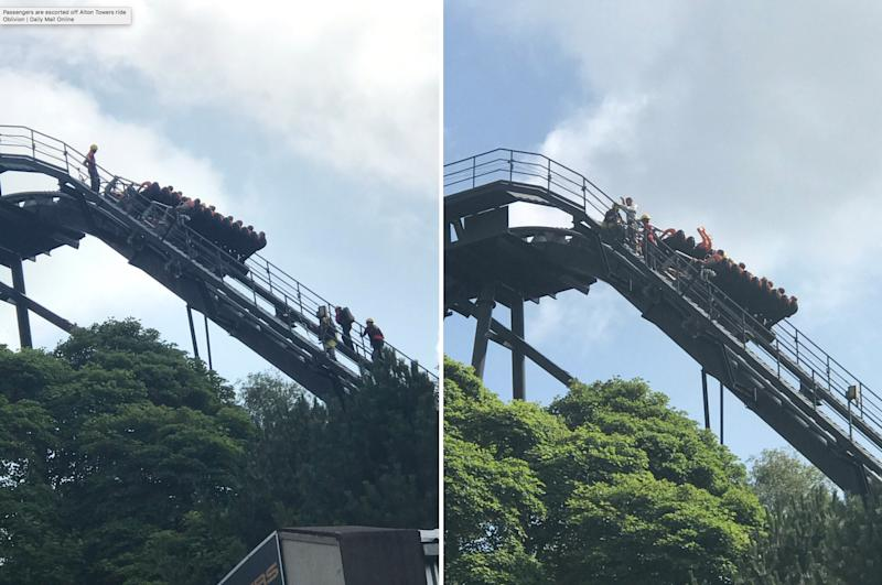 Passengers on Oblivion at Alton Towers escorted off ride at 180ft
