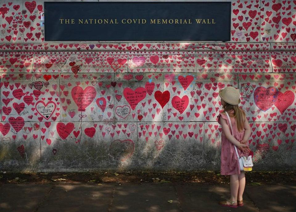 The National Covid Memorial Wall on the Embankment in London (Yui Mok/PA) (PA Wire)