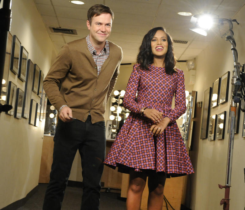 """This Oct. 29, 2013 photo released by NBC shows actress Kerry Washington, right, with cast member Taran Killam during a promotional shoot for """"Saturday Night Live,"""" in New York. Washington will host the late night comedy sketch series on Nov. 2. (AP Photo/NBC, Dana Edelson)"""