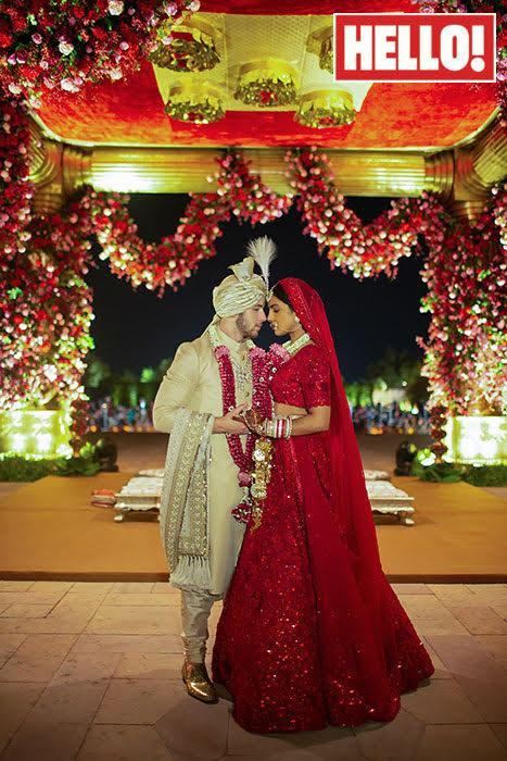 For the couple's Hindu ceremony, Priyanka Chopra and Nick Jonas (pictured) wore traditional Indian outfits. [Photo: Hello! magazine]