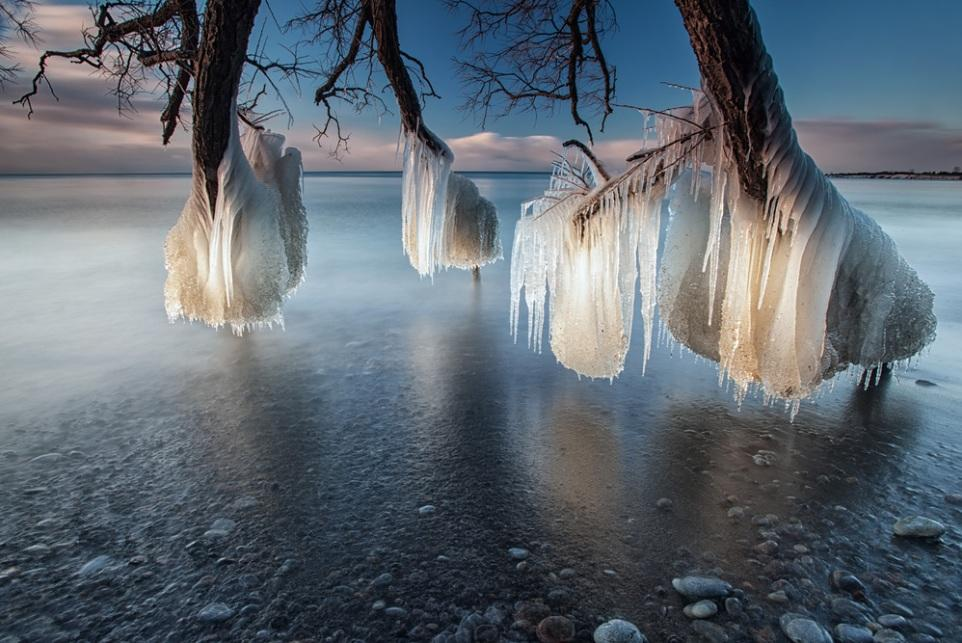 <p>A 'tree of ice' hangs over the frozen lake in another of Tim's stunning pictures (Tim Corbin)</p>