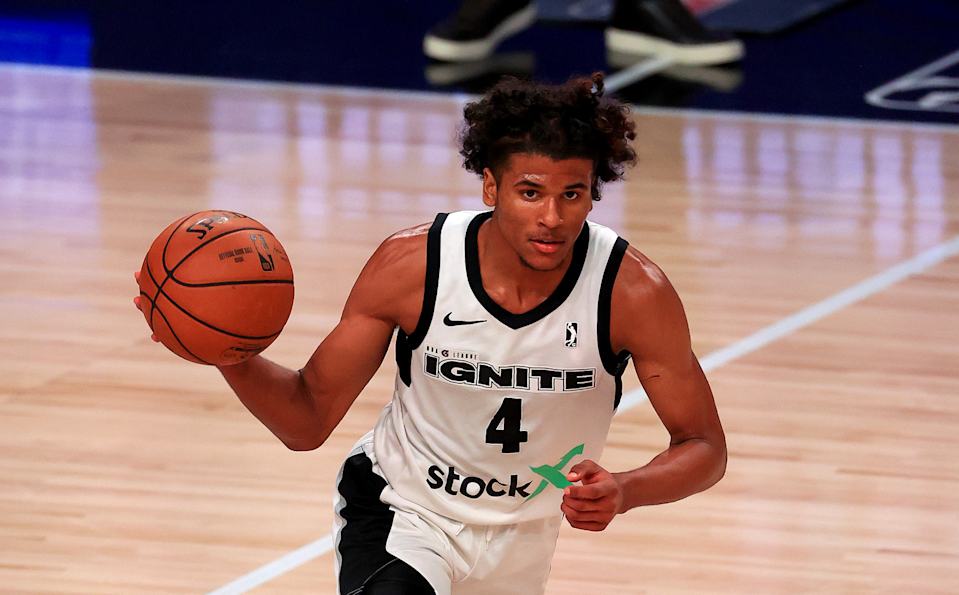 LAKE BUENA VISTA, FLORIDA - FEBRUARY 18: Jalen Green #4 of the G League Ignite brings the ball up the floor during a G-League game against the Westchester Knicks at AdventHealth Arena at ESPN Wide World Of Sports Complex on February 18, 2021 in Lake Buena Vista, Florida.