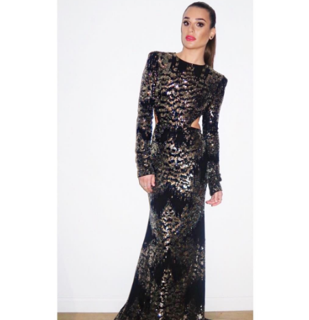 <p>Add a bit of sparkle and what's not to like about the 80s shoulder? [Photo: Lea Michelle/ Instagram] </p>