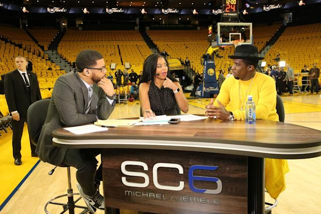 "L-R: ESPN's Michael Smith, ESPN's Jemele Hill, Sean ""Diddy"" Combs on SC6. (Getty)"
