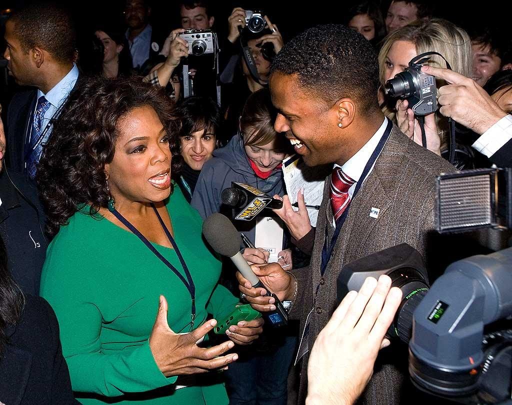 """Oprah Winfrey celebrated Barack Obama's historic win with thousands of other supporters in Chicago on Tuesday. Paul Morigi/<a href=""""http://www.x17online.com"""" target=""""new"""">X17 Online</a> - November 4, 2008"""