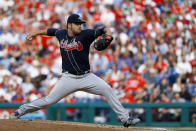 Atlanta Braves' Bryse Wilson pitches during the fourth inning of a baseball game against the Philadelphia Phillies, Saturday, March 30, 2019, in Philadelphia. (AP Photo/Matt Slocum)