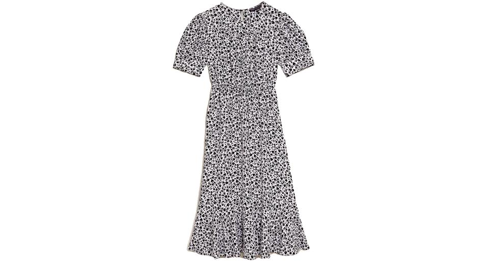 Ditsy Floral Round Neck Midi Waisted Dress