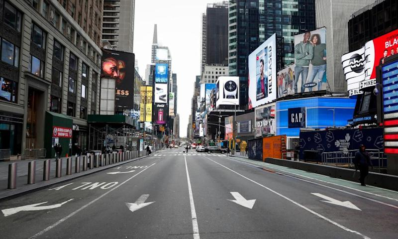 An empty Times Square in New York, New York, on 19 March.