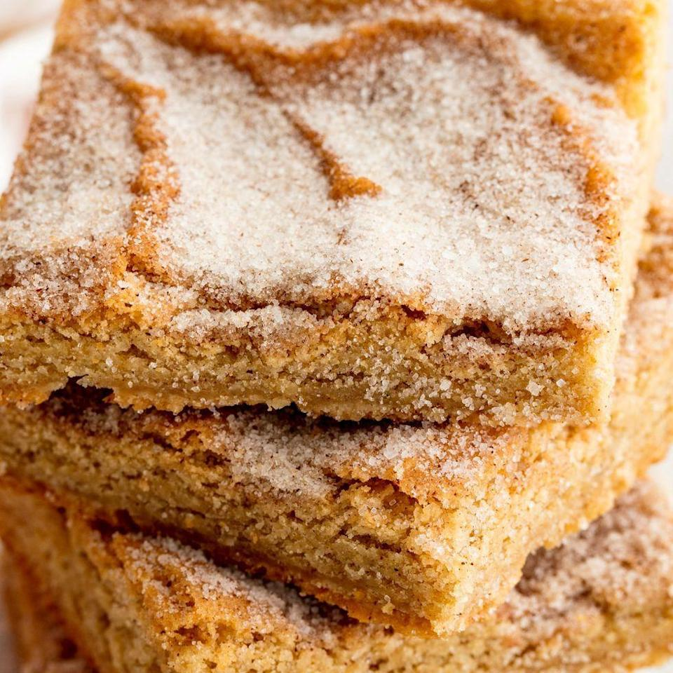"<p>These blondies are pure cinnamon-sugar bliss.</p><p>Get the <a href=""https://www.delish.com/uk/cooking/recipes/a34844744/snickerdoodle-blondies-recipe/"" rel=""nofollow noopener"" target=""_blank"" data-ylk=""slk:Snickerdoodle Blondies"" class=""link rapid-noclick-resp"">Snickerdoodle Blondies</a> recipe. </p>"