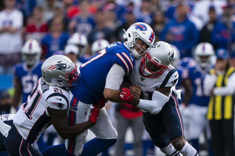 A violent hit on Josh Allen raised questions about why Jonathan Jones wasn't ejected. (Getty)