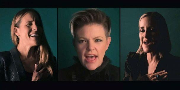 PHOTO: The Chicks (formerly known as the Dixie Chicks), Natalie Maines, Martie Erwin Maguire, and Emily Strayer, perform the National Anthem, at the start of the final night of the 2020 Democratic National Convention, Aug. 20. 2020. (Democratic National Convention)
