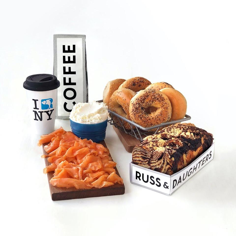 "I can't get to New York City this year, so I've brought New York to me, thanks to Goldbelly and endless shipments of my favorite bagels from <a href=""https://fave.co/3aa3cF9"" rel=""nofollow noopener"" target=""_blank"" data-ylk=""slk:Ess-a-Bagel"" class=""link rapid-noclick-resp"">Ess-a-Bagel</a>, smoked salmon from Russ & Daughters, and just last week, a cake from <a href=""https://fave.co/2KlV7Cq"" rel=""nofollow noopener"" target=""_blank"" data-ylk=""slk:We Take the Cake"" class=""link rapid-noclick-resp"">We Take the Cake</a>. If I can't get there in person, this is truly the next best thing. —<em>J.R.</em> $179, Goldbelly. <a href=""https://www.goldbelly.com/russ-and-daughters/18810-new-york-brunch?"" rel=""nofollow noopener"" target=""_blank"" data-ylk=""slk:Get it now!"" class=""link rapid-noclick-resp"">Get it now!</a>"