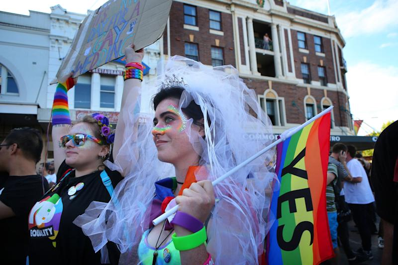 Supporters of legalizing same-sex marriage listen to speeches at Taylor Square in the heart of Sydney's gay precinct. (James Alcock via Getty Images)