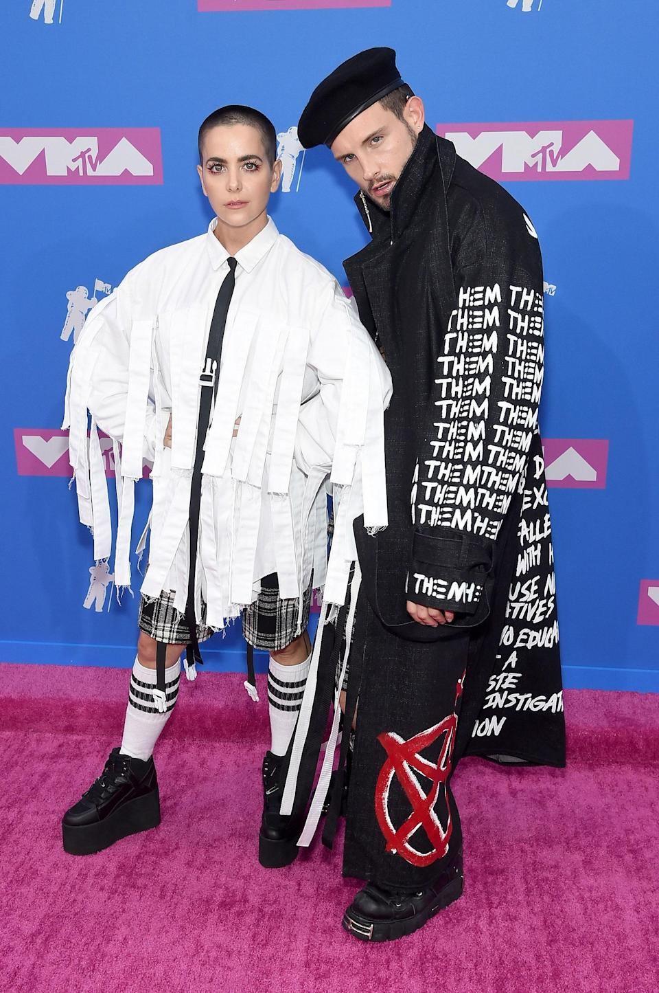 Bethany Meyers and Nico Tortorella took Hot Topic-inspired garments and made them red carpet fashion.