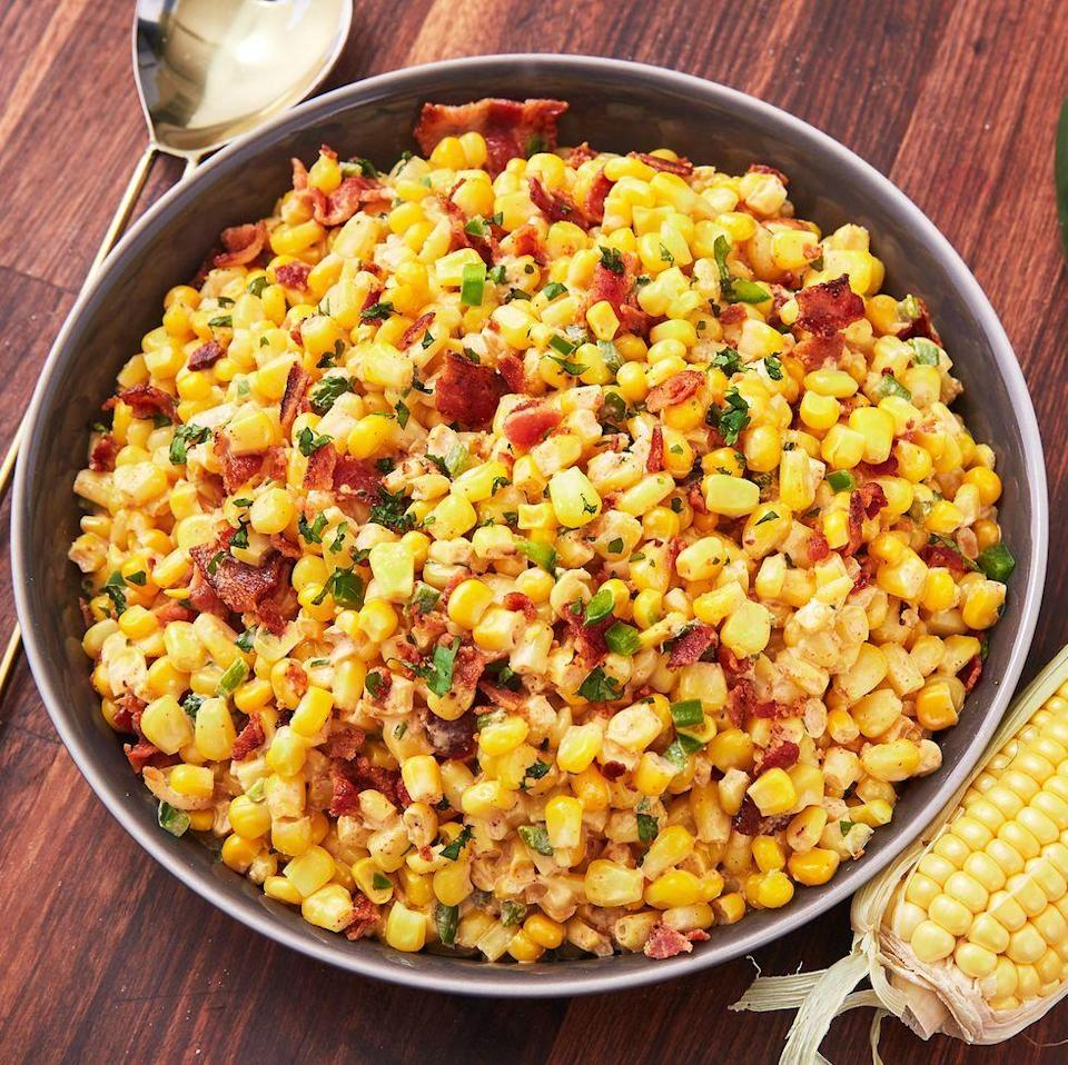 """<p>In the summer months (when all the best veggies are in season), we can't get enough of <a href=""""https://www.delish.com/cooking/a22487458/corn-on-the-cob/"""" rel=""""nofollow noopener"""" target=""""_blank"""" data-ylk=""""slk:corn on the cob."""" class=""""link rapid-noclick-resp"""">corn on the cob.</a> This easy corn salad is the perfect side for a barbecue, and we plan on eating it ALL summer long. </p><p>Get the <a href=""""https://www.delish.com/uk/cooking/recipes/a32808332/bacon-jalapeno-corn-salad-recipe/"""" rel=""""nofollow noopener"""" target=""""_blank"""" data-ylk=""""slk:Bacon Jalapeño Corn Salad"""" class=""""link rapid-noclick-resp"""">Bacon Jalapeño Corn Salad</a> recipe.</p>"""