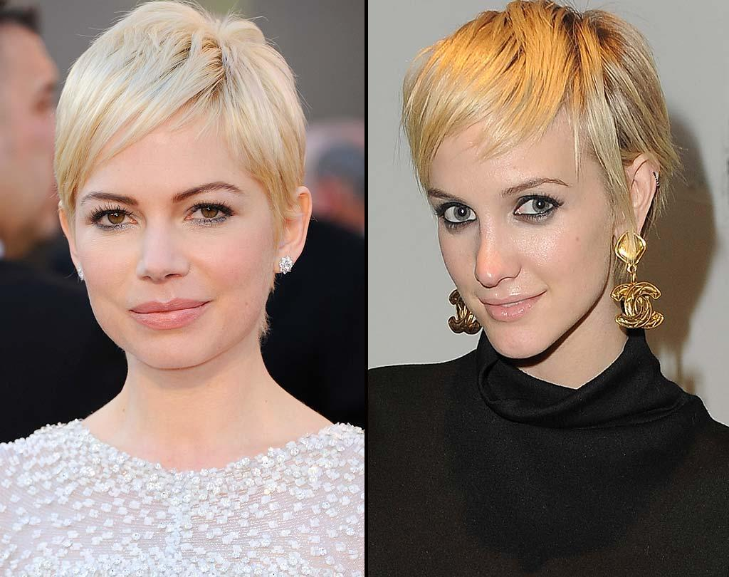 """This one is easy. """"Blue Valentine"""" beauty Michelle Williams simply owns this cropped cut. While it's cute on former rocker Ashlee Simpson, too, we can't help but think it's just a passing phase on her way to yet another style. <a href=""""http://www.wireimage.com"""" target=""""new"""">WireImage.com</a> - March 1, 2011"""