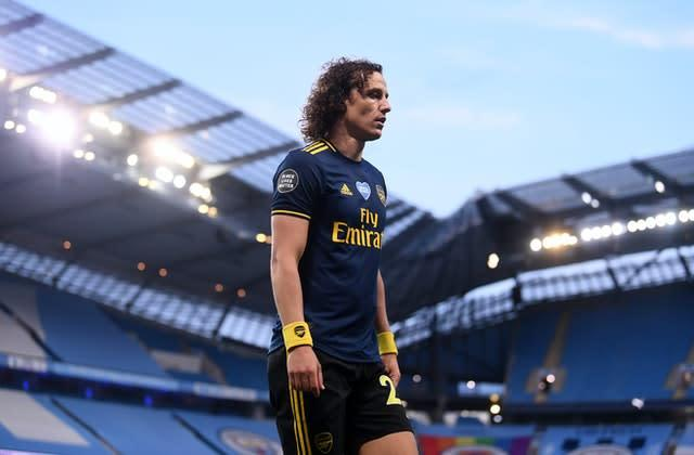 Arsenal defender David Luiz was sent off on a miserable night for Arsenal (Laurence Griffiths/NMC/PA)