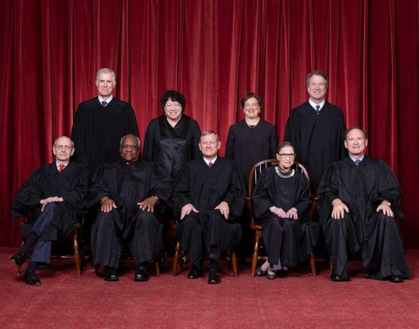 PHOTO: Justices Stephen G. Breyer and Clarence Thomas, Chief Justice John G. Roberts, Jr., and Justices Ruth Bader Ginsburg and Samuel A. Alito. Top Row: Justices Neil M. Gorsuch, Sonia Sotomayor, Elena Kagan, and Brett M. Kavanaugh. (Fred Schilling/U.S. Supreme Court)