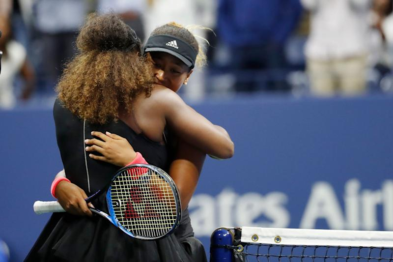 Naomi Osaka of Japan (R) hugs Serena Williams after their match in the women's final on Day 13 of the 2018 U.S. Open tennis tournament in Queens, New York, Sept. 8. (Photo: USA Today Sports / Reuters)