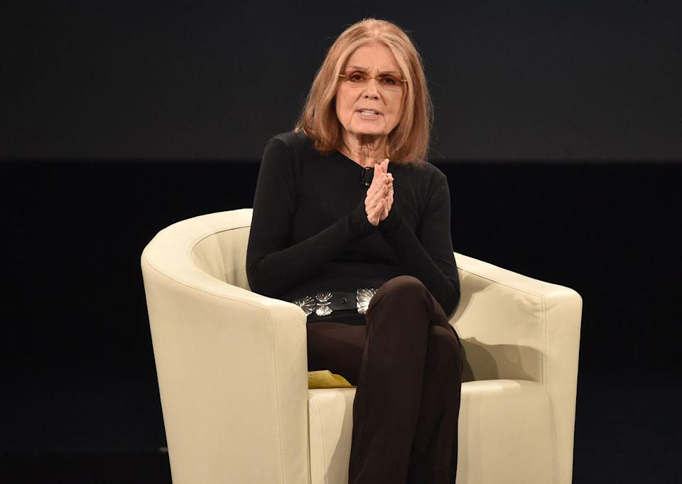 """<p>Activist, feminist, and journalist Gloria Steinem was diagnosed with breast cancer in 1986. She had surgery, is now cancer-free, and shared with <a href=""""https://www.hbo.com/documentaries/gloria-in-her-own-words/synopsis"""" rel=""""nofollow noopener"""" target=""""_blank"""" data-ylk=""""slk:HBO"""" class=""""link rapid-noclick-resp"""">HBO</a> about how her illness affected he life: """"The cancer served a real purpose, making me a little bit more conscious of time."""" <br></p>"""