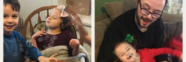 Photo montage of Lila with her siblings and parents. She is smiling, blowing bubbles and enjoying life.