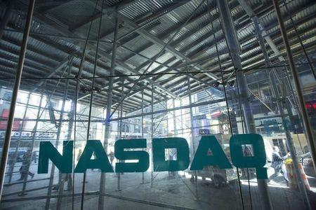 Scaffolding is seen outside the NASDAQ MarketSite in Times Square in New York