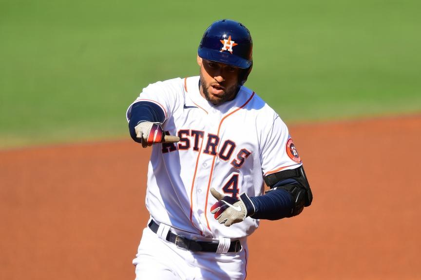 George Springer rounds the bases after hitting a home run