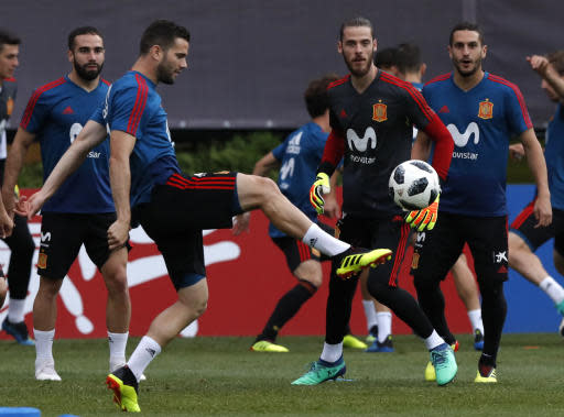 Spain's Nacho Fernandez controls the ball during a training session of Spain at the 2018 soccer World Cup in Krasnodar, Russia, Sunday, June 17, 2018. (AP Photo/Manu Fernandez)
