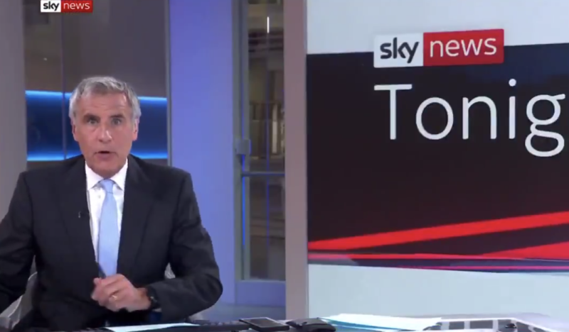 Dermot Murnaghan appeared shocked as the broadcast returned to the studio. Source: Sky News
