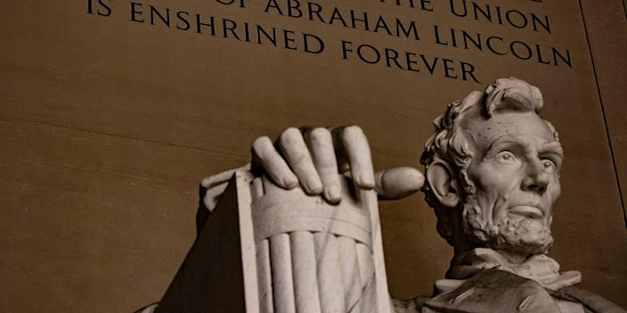 Abraham Lincoln statue at the Lincoln Memorial in Washington, DC.