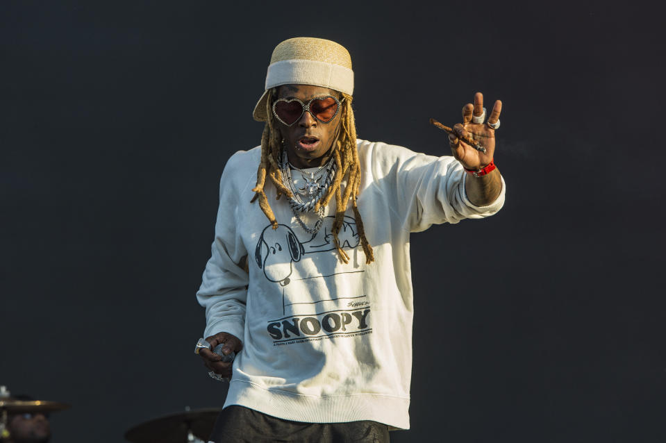 Lil Wayne performs on day three of Lollapalooza in Grant Park on Saturday, Aug. 3, 2019, in Chicago. (Photo by Amy Harris/Invision/AP)