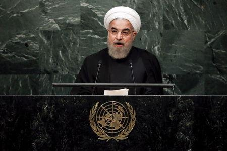 Iran's President Hassan Rouhani addresses a plenary meeting of the United Nations Sustainable Development Summit 2015 at the United Nations headquarters in Manhattan, New York