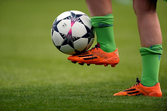 Soccer Football - Women's Champions League Semi Final First Leg - Chelsea v VfL Wolfsburg - The Cherry Red Records Stadium, London, Britain - April 22, 2018 General view of a football before the match Action Images via Reuters/Adam Holt