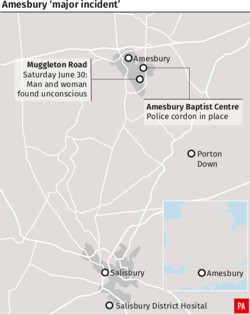 <em>The location of the major incident in Amesbury (PA)</em>