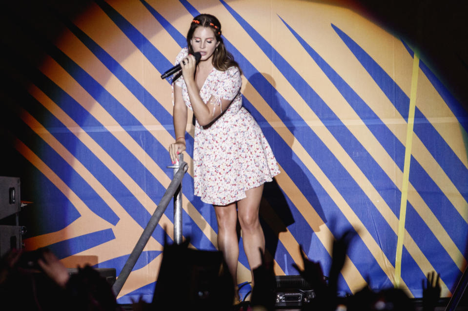 BENICASSIM, SPAIN - JULY 19: (EDITORIAL USE ONLY) Lana Del Rey performs in concert during the Festival Internacional de Benicassim on July 19, 2019 in Benicassim, Spain. (Photo by Xavi Torrent/Redferns)