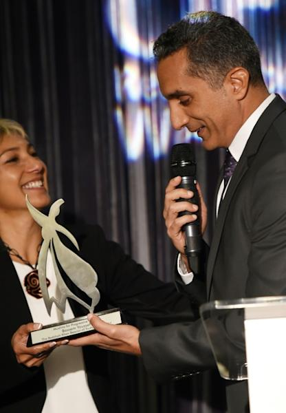 "Egytian political satirist Bassem Youssef (R) has been called ""The Jon Stewart of Middle East"" as Stewart's television program ""The Daily Show"" was the inspiration that led Youssef to begin his career as outspoken political critic"
