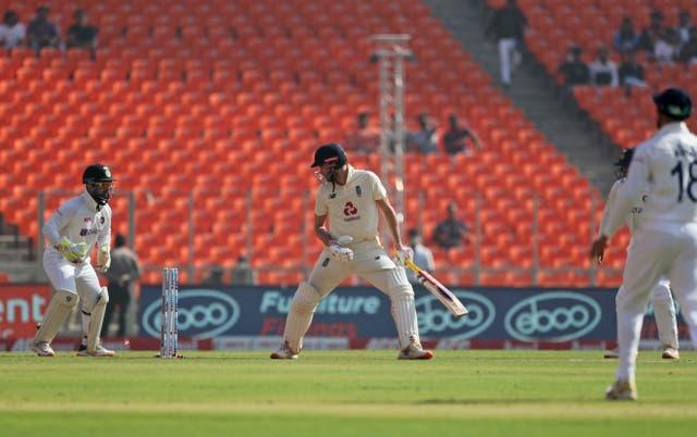 Dom Sibley is bowled by Axar Patel