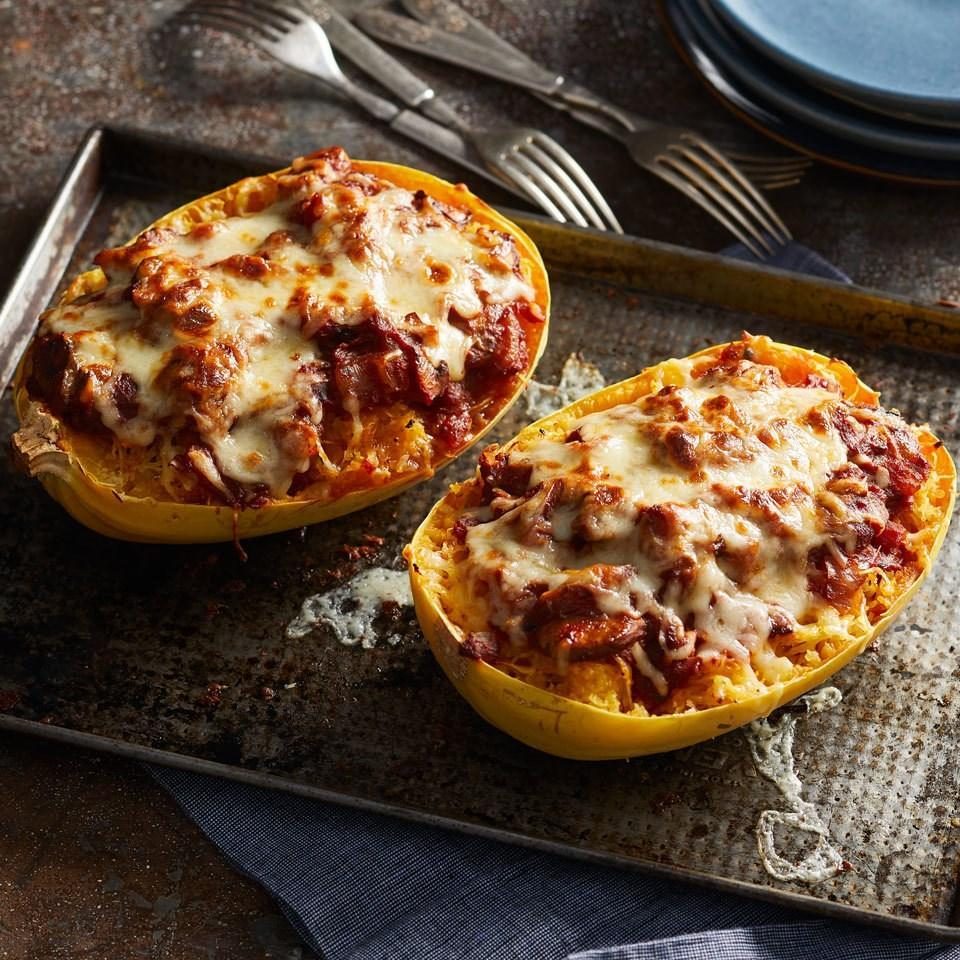 """<p>This low-carb riff on classic lasagna layers mushrooms and tomato sauce with spaghetti squash noodles instead of lasagna pasta. Make the layers right in the shell of the spaghetti squash and top with mozzarella cheese for a melty top and fun presentation. Serve with a green salad and a glass of Chianti for an easy, healthy dinner. <a href=""""https://www.eatingwell.com/recipe/261796/vegetarian-spaghetti-squash-lasagna/"""" rel=""""nofollow noopener"""" target=""""_blank"""" data-ylk=""""slk:View Recipe"""" class=""""link rapid-noclick-resp"""">View Recipe</a></p>"""