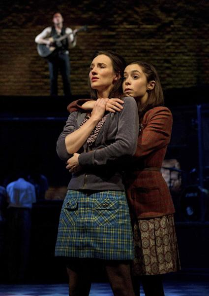 "In this theater image released by Boneau/Bryan-Brown, Elizabeth A. Davis, left, and Cristin Milioti are shown during a performance of the musical ""Once."" After years of toil in regional theater and off-Broadway, Davis made her Broadway debut in March in the hit musical ""Once"" and promptly earned her first Tony Award nomination. Davis was nominated for best featured actress in a musical. The Tony Awards will be broadcast live on CBS on June 10. (AP Photo/Boneau/Bryan-Brown, Joan Marcus)"