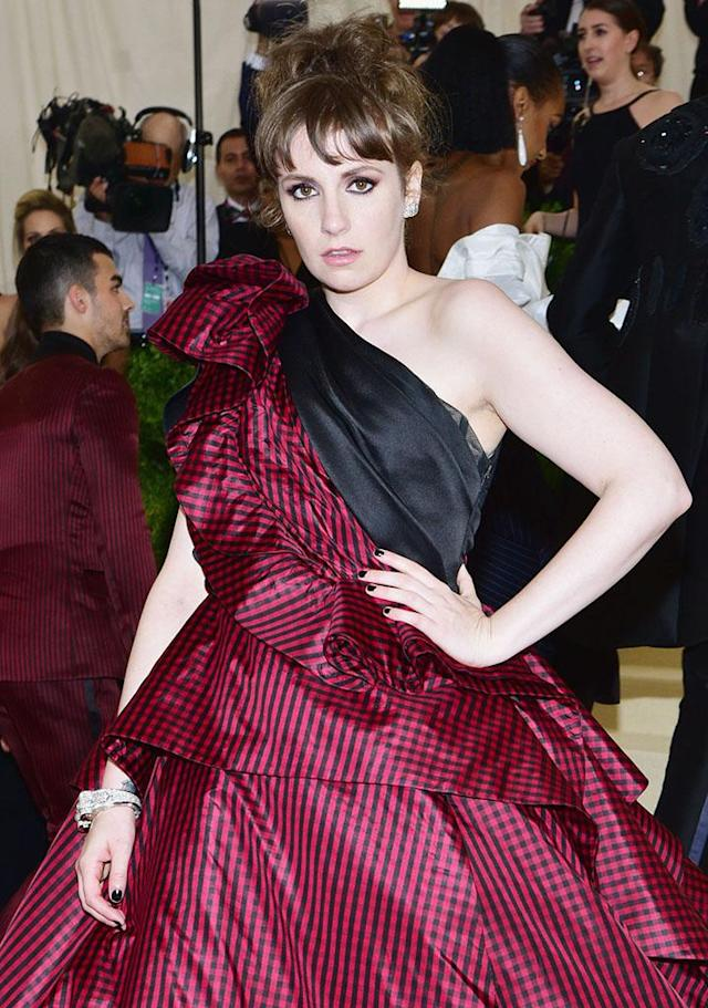 Lena Dunham went from the Met Ball, where she is pictured here, to the hospital on Monday. (Photo: Sean/Patrick McMullan via Getty Images)
