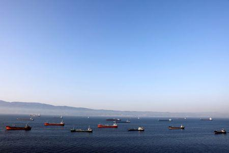 FILE PHOTO: Oil tankers wait to dock at Tupras refinery near the northwestern Turkish city of Izmit